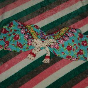 Betsey Johnson Blue/Red Floral Bandeau Bikini Top
